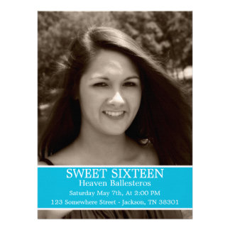 Blue Sweet Sixteen Birthday Invitations 6 5 x 8 7