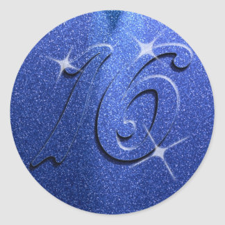 Blue Sweet Sixteen Birthday Party Stickers