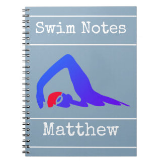 Blue swimmer, Swim Notes, Personalized Notebook