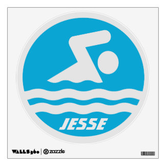 Blue Swimming Decal with Swimmer's Name