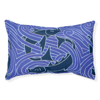 Blue swimming Fish Graphic Pet Bed