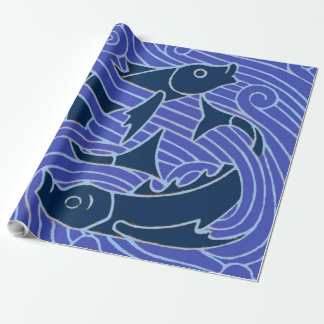 Blue swimming Fish Graphic Wrapping Paper
