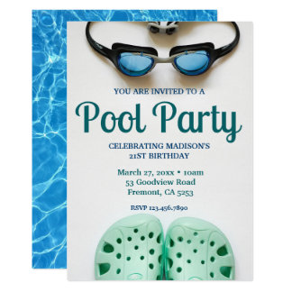 Blue Swimming Goggles Birthday Pool Party Card