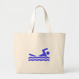 Blue Swimming Icon Large Tote Bag