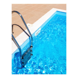 Blue swimming pool with ladder letterhead