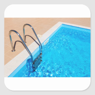 Blue swimming pool with ladder square sticker