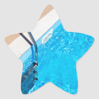 Blue swimming pool with ladder star sticker