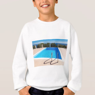 Blue swimming pool with steps at sea sweatshirt