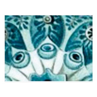 blue swirl pattern postcard