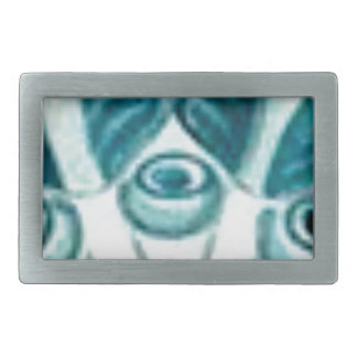 blue swirl pattern rectangular belt buckle