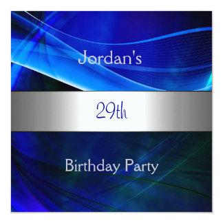 Blue Swirl Silver Trim 29th Birthday Party Card
