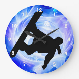 Blue Swirl Snowstorm Snowboarder Large Clock