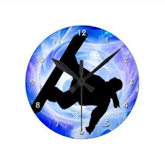 Blue Swirl Snowstorm Snowboarder Round Clock