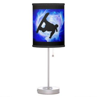 Blue Swirl Snowstorm Snowboarder Table Lamp