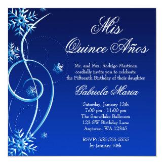"Blue Swirl Winter Wonderland Quinceanera 5.25"" Square Invitation Card"