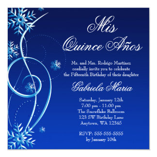 Blue Swirl Winter Wonderland Quinceanera Card