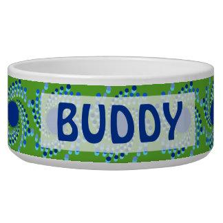 Blue Swirling Dots (Choose Background Color) Dog Water Bowl