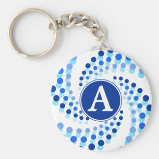 Blue Swirling Dots (Choose Background Color) Keychain