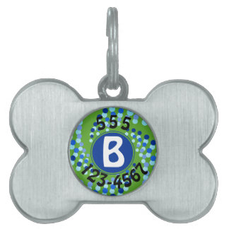 Blue Swirling Dots (Choose Background Color) Pet Name Tags