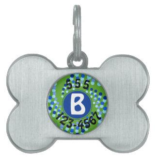 Blue Swirling Dots (Choose Background Color) Pet Tag