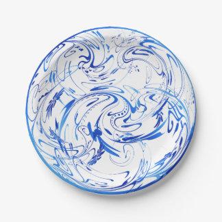 Blue Swirls 7 Inch Paper Plate