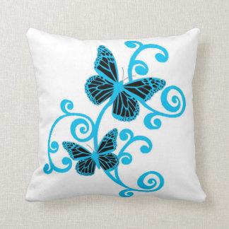 Blue swirls And Butterflies Throw Pillow