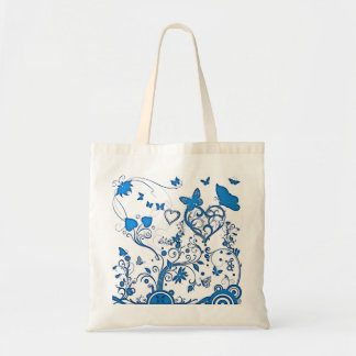 Blue swirls and Butterfly tote bag