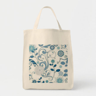 Blue Swirls anf Flowers Tote Bag