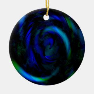 Blue swirls ceramic ornament