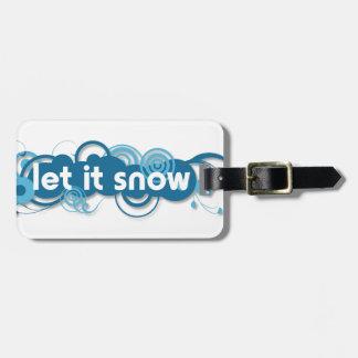 Blue swirls Let it Snow Bag Tag