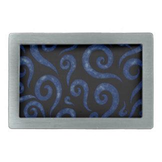 Blue Swirls Pattern Belt Buckles