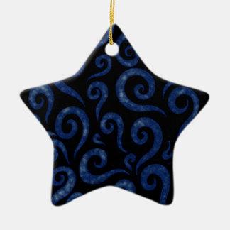 Blue Swirls Pattern Ceramic Ornament