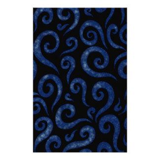 Blue Swirls Pattern Stationery