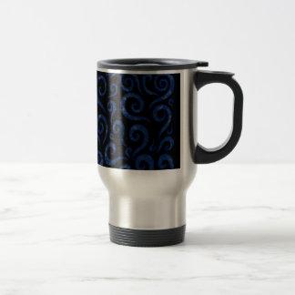 Blue Swirls Pattern Travel Mug