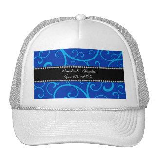 Blue swirls wedding favors trucker hat