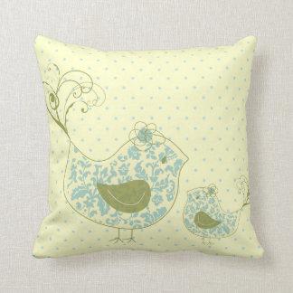 Blue Swirly Mom & Baby Bird  Whimsical Damask Cush Pillow