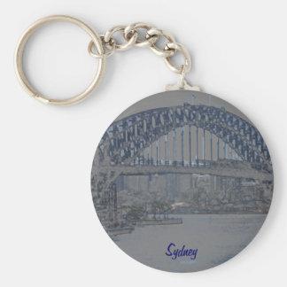 Blue Sydney Harbour Bridge Basic Round Button Keychain