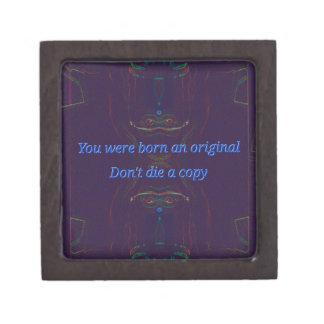 "Blue Symmetrical Abstract "" Born Original"" quote Premium Jewelry Box"