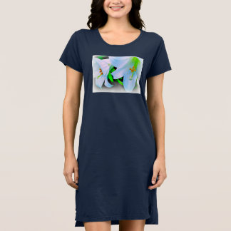 Blue t shirt dress with white and green lilies