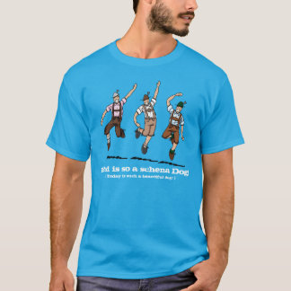 Blue T-Shirt Happy Lederhosen Men Beautiful Day