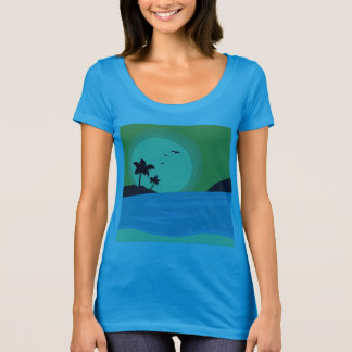 Blue t-shirt with beach theme