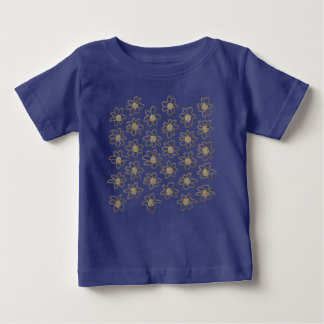 Blue t-shirt with Romance flowers