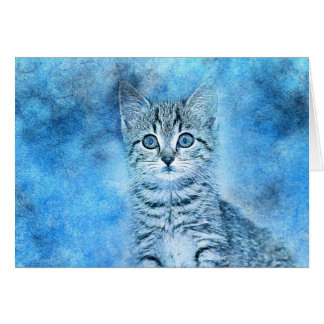 Blue Tabby Kitten | Abstract | Watercolor Card