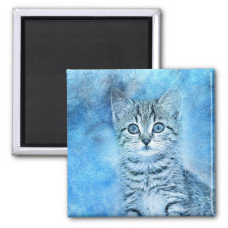 Blue Tabby Kitten | Abstract | Watercolor Magnet