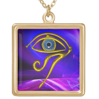 BLUE TALISMAN /EYE OF HORUS,Gold Gold Plated Necklace