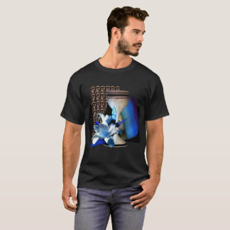 Blue Tan Black Floral Motif Still Life on black T-Shirt