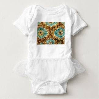 blue tan design of shapes baby bodysuit