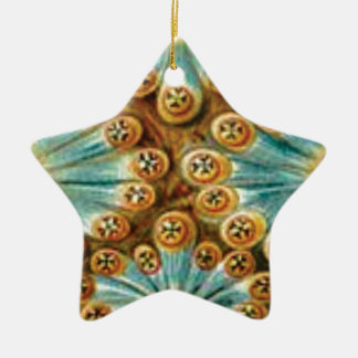 blue tan design of shapes ceramic ornament