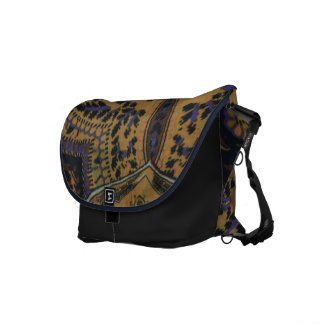 Blue & Tan Paisley Design Messenger Bag
