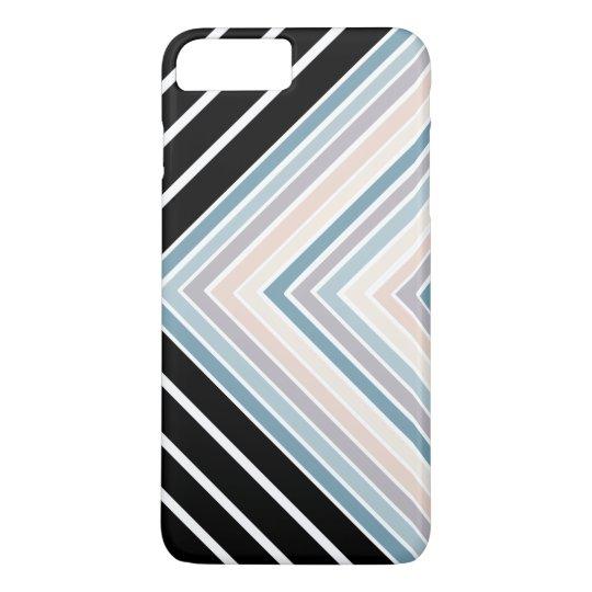 Blue Tan stripes plus black and white stripes iPhone 7 Plus Case